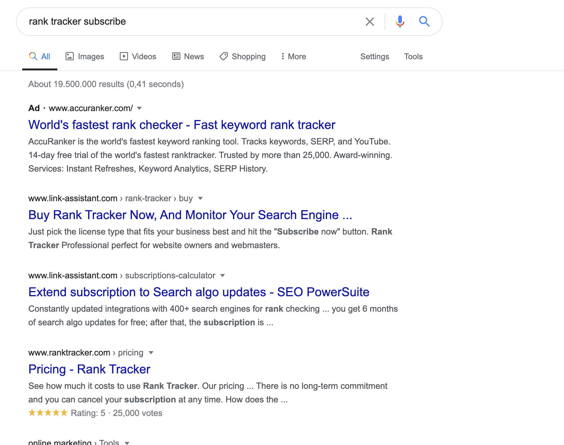 Search Intent : Rank Tracker